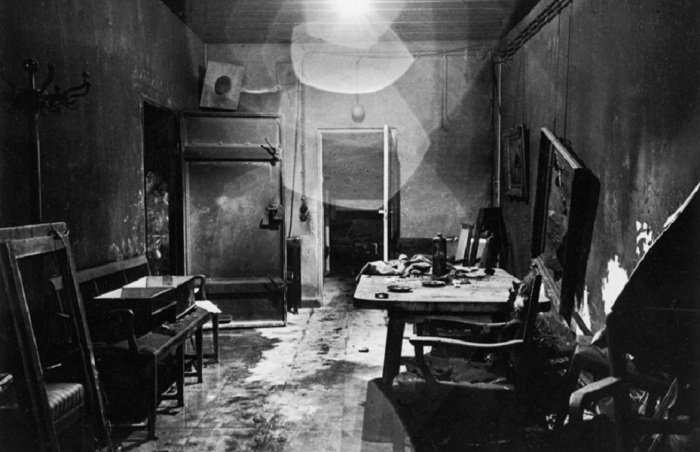 A new view of a photograph that appeared, heavily cropped, in LIFE, picturing Hitler's bunker, partially burned by retreating German troops and stripped of valuables by invading Russians.