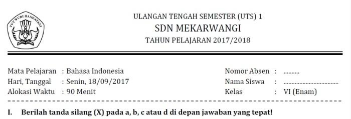 Profil Soal UTS Bahasa Indonesia