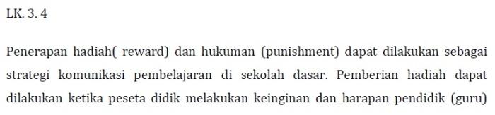 Kunci Jawaban LK 3.4 (Penerapan Punishment dan Reward) Modul KK F Pedagogik PKB Kelas Bawah (Bag. 1)
