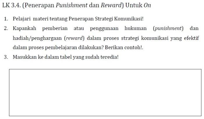 LK 3.4 (Penerapan Punishment dan Reward) Modul KK F Pedagogik PKB Kelas Bawah