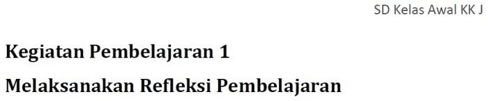 Profil Keg. Pembelajaran 1 - KK J Pedagogik PKB SD Kelas Bawah