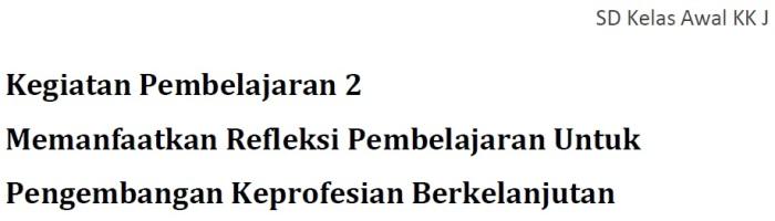 Profil Keg. Pembelajaran 2 - KK J Profesional PKB SD Kelas Bawah