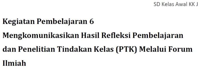 Profil Keg. Pembelajaran 6 - KK J Profesional PKB SD Kelas Bawah