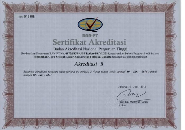 Sertifikat BAN-PT PGSD Universitas Terbuka